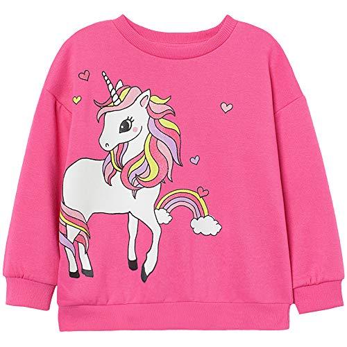 Pullover Mädchen Baumwolle Langarm Rundhals T-Shirt Kinder Sweatshirt Frühling Sommer Herbst Winter Einhorn Rosa 116