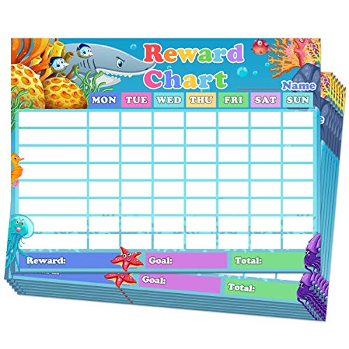 Chore Chart for Kids Dry Erase Reward Chart Reusable Self-Adhesive Behavior Chart for Home Classroom,Underwater World Chore Chart 10 Pack,14.5 x 11 Inches