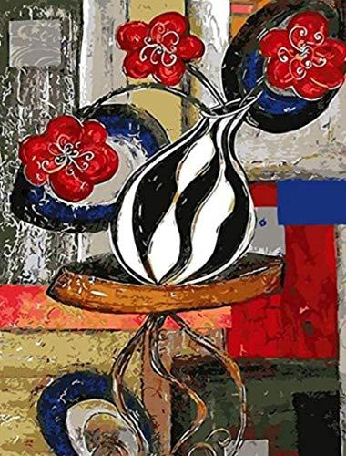 Zwart witte fles olieverfschilderij vaas foto op nummer digitale foto kleuren met de hand uniek cadeau kamer decor huisdecoratie 16x20 inch frameloze
