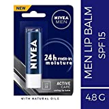 NIVEA Men Lip Balm, Active Care SPF for 24h Moisture, 4.8 g