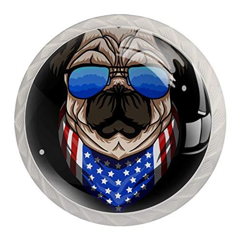 AITAI Juego de 4 pomos redondos para armario con gafas, diseño de perro carlino