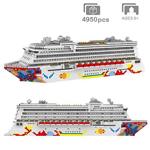 YAYONG Bloque de construcción Barco montado Modelo 3D DIY Diamante Mini Edificio Miniatura Ladrillo Nano Creativo Crucero