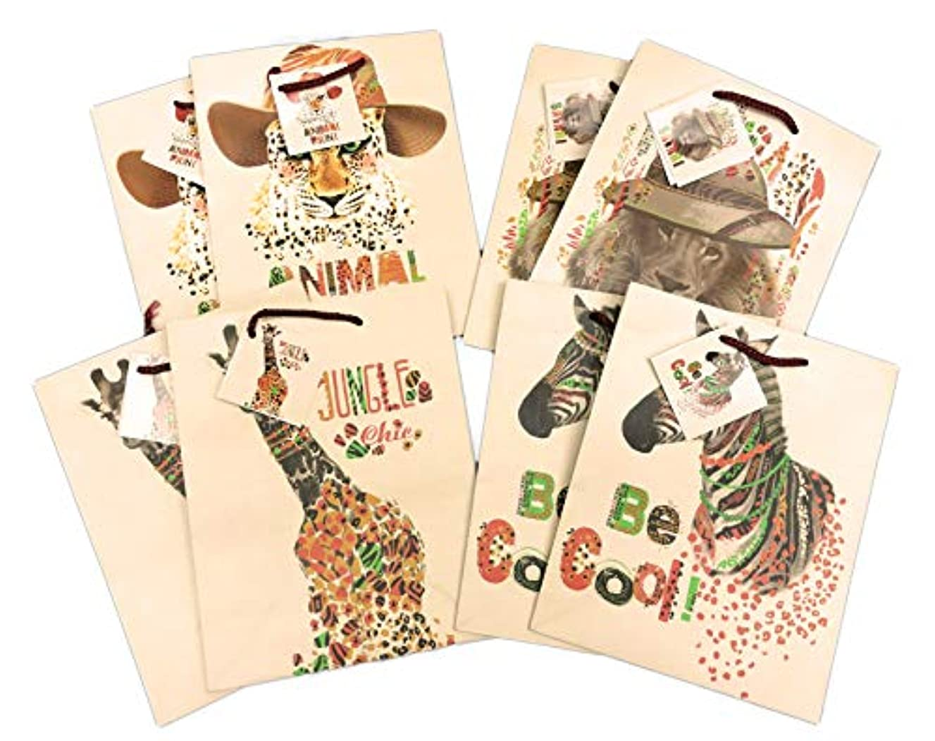 Safari Animals Lion Cheetah Zebra & Giraffe 8 Pack Celebration Party Favor Gift Bags 8