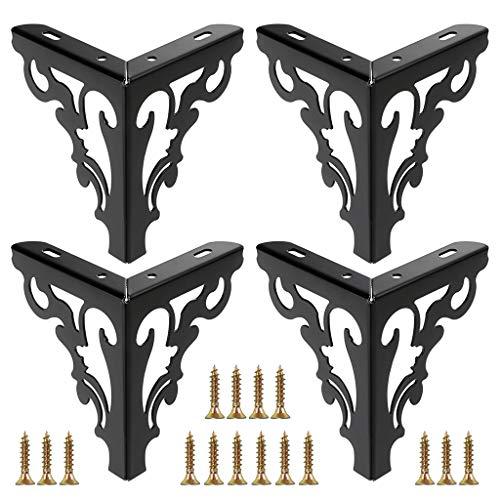 OwnMy 4pcs Metal Furniture Legs Feet, Modern Sofa Cabinet Legs for Repair & Restoration of Dresser, Wardrobe, Tea Table, Worktop Shelves Bed, Weight Capacity of 550 lbs Per Leg (Black, 15cm/6inch)