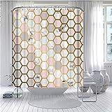 Hiseng Geometrischer Druck Duschvorhang Wasserdicht Anti Schimmel mit 9/12 Duschvorhänge Haken, 3D Marmor Waschbar Badewanne Vorhang Polyester (Rosa,180x200)
