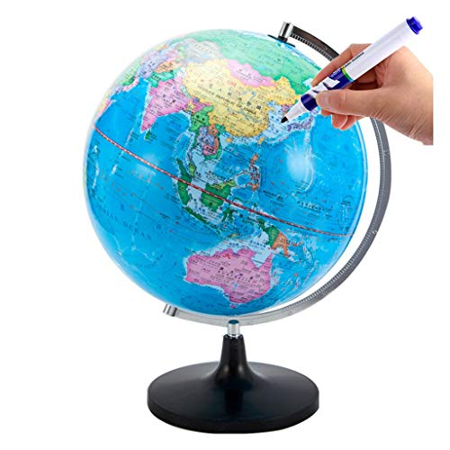 Globo Terráqueo Mundial Globo Giratorio Constelación Globo Detallado Mapa Mundo Patrón De 32cm Educativa/Geográfica Chino-Inglés (Color : Black)