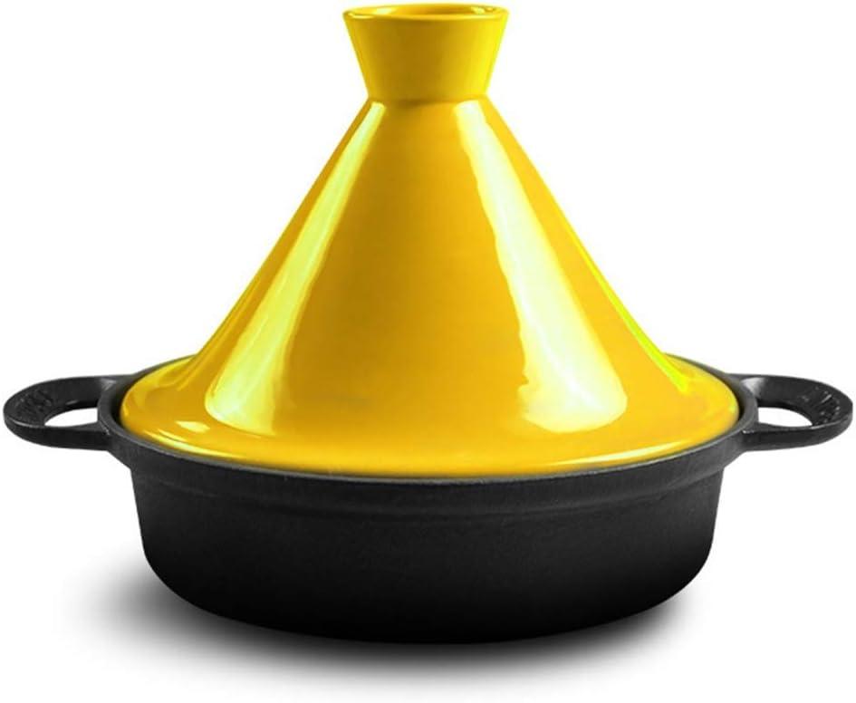 Bleu Couvercle de Pot en c/éramique Base en Fonte Micro autocuiseur /émaill/é Mat de Couleur vive CYQ Pot /à tajine en Fonte 3L