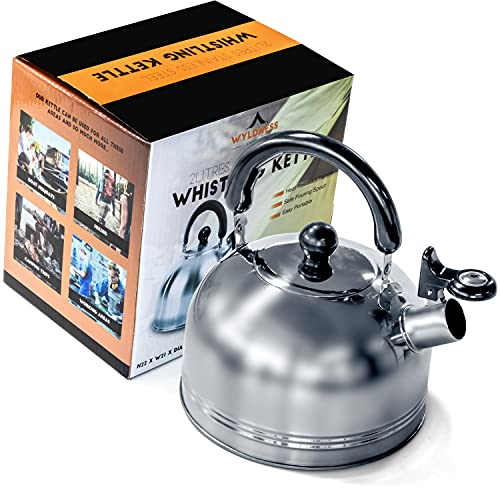 Wyldness Camping Whistling Kettle 2L – Portable Travel Teapot Coffee Mug for Gas, Electric Stove, Camp Fire with Safe Handle & Spout – Strong Steel Boiling Pot Ideal for Outdoor Hiking, Picnic, Indoor