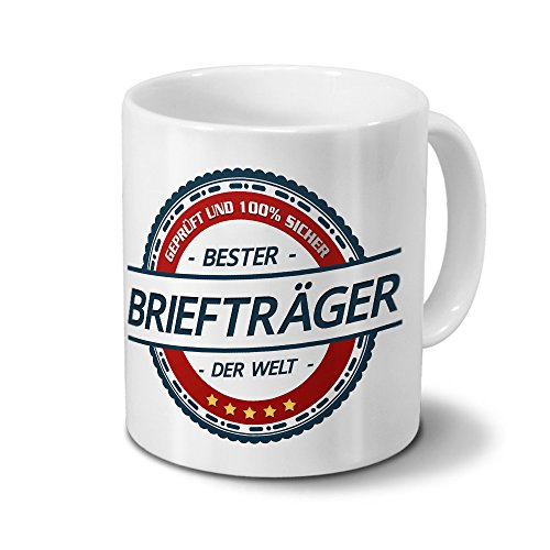 printplanet Tasse mit Beruf Briefträger - Motiv Berufe - Kaffeebecher, Mug, Becher, Kaffeetasse - Farbe Weiß