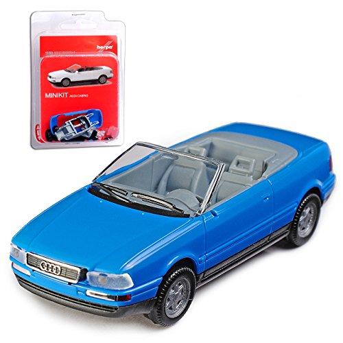 Herpa A-U-D-I 80 B4 8C Cabrio Blau Offen 1991-1995 Bausatz Kit H0 1/87 Modell Auto mit individiuellem Wunschkennzeichen