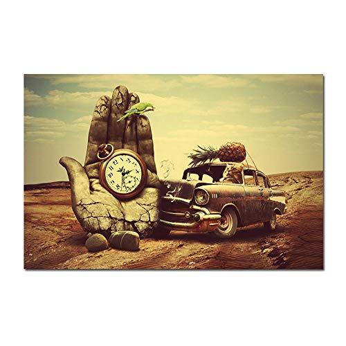 HERWS Cuadro sobre Lienzo Póster Reloj Mano Coche Piña Loro Lienzo Clásico Pintura Carteles Artísticos E Impresiones Pared Sala Estar Arte Pared