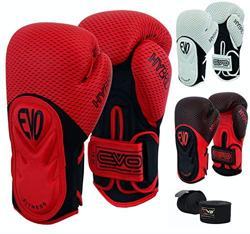 EVO Fitness Boxing Gloves Men Punch Bag Women MMA Muay Thai Martial Arts Kick Boxing Sparring Training Fighting UFC Adults Gloves With Hand Wraps Red 16 OZ
