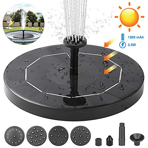 ANSGEC Solar Springbrunnen, 3.5W Solar Teichpumpe Garten Wasserpumpe mit Solar Panel 6 Fontänenstile Solar schwimmender Fontäne Pumpe für Gartenteich Oder Springbrunnen Fisch-Behälter