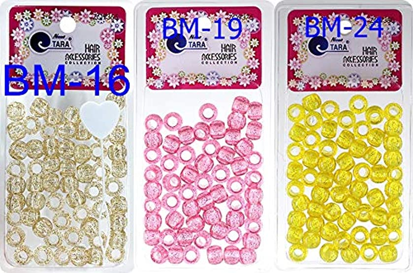 Tara Assorted Color Design 60 Pieces Plastic Beads 12 x 12 mm For Braid Hair For Girls Pack Of 3 Combo (Glitter Gold,GL Pink,Glitter Yellow)