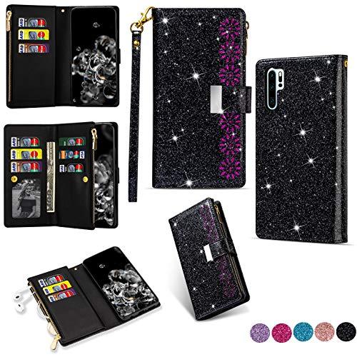 Hancda Brieftasche Hülle für Huawei P30 Pro [Nicht für P30], Handyhülle Handytasche Glitzer Leder Tasche Flip Case Geldbörse mit Reißverschluss Kartenfach Klapphülle für Huawei P30 Pro,Schwarz
