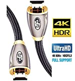 4K HDMI Kabel 1,5M HDMI 2.0b Kabel 4K@60Hz HighSpeed 18Gbps Nylon Geflecht Vergoldete Anschlüsse mit Ethernet/Audio Rückkanal,Kompatibel mit Video 4K UHD 2160p,HD 1080p,3D Xbox PS4 - IBRA RED