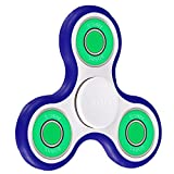 POAO Fidget Spinner Jouet Tri Fidget Hand Spinner Pour Adultes Enfant Doigt Jouet (Noir-BWBlue)