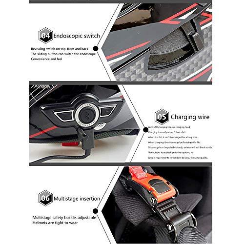 Leaf&Y Modularer Bluetooth-Smart-Motorradhelm, Anti-Fog-Doppelvisier-Klapphelm, Offroad-Motorrad-Roller-Rennhelm mit automatischer Rufannahme/Musik,L - 3