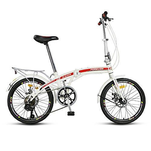 YEARLY Bicicletta pieghevole donna, Adulti bici pieghevole Pieghevole Uomini e donne 7 velocità Shimano Ultra leggero Portatile Spostamenti in città Bicicletta pieghevole-Rosso 20inch