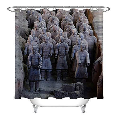 llllll Stoff Duschvorhang Ancient Terracotta Warrior Wasserdichtes Badezimmerzubehör 183X183CM