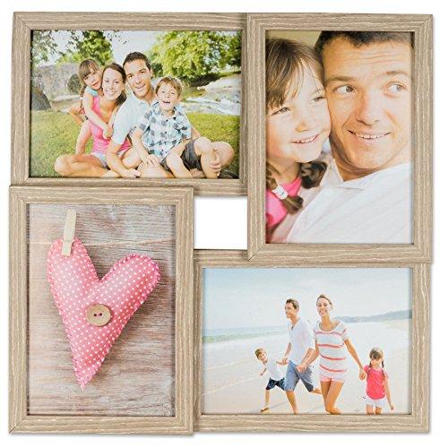 levandeo Holz Bilderrahmen B x H: 34x34cm Farbe: Eiche gekälkt 4 Fotos Format 13x18cm mit Glasscheiben