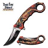 8' DARKSIDE BLADES SPRING ASSISTED Pocket Folding Knife Flame Scorpion Karambit