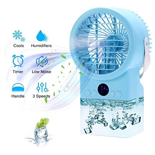 Diker Mini Luftkühler Mobiles Klimagerät Ventilator Air Cooler Tragbar USB Klimaanlage 3 Geschwindigkeiten