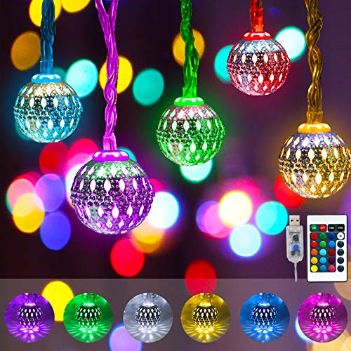 Obrecis Color Changing Globe String Lights, 50LED Moroccan Christmas Lights USB Plug Metal Ball Decorative Lights with Remote for Diwali, Indoor, Boho Girls Bedroom Xmas Tree Decor- 32.8ft (RGB)