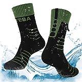 Layeba 100% wasserdichte atmungsaktive Socken [SGS Zertifiziert] Unisex Outdoor Sport Wandern Trekking Skifahren Socken 1 Paar & 2 Paar, Herren, Schwarz/Grün, Small