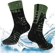 Layeba 100% Waterproof Breathable Socks [SGS Certified] Unisex Outdoor Sports Hiking Trekking Skiing Socks 1 Pair & 2 Pairs (Black&Green, Medium)