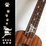 Calcomanías para diapasón con incrustaciones de pegatinas para ukelele soprano, huellas de gato y patas de gato