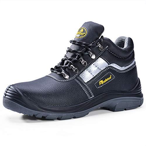 SAFEYEAR Botas de Trabajo Hombres con Puntera de Acero,Zapatos de Seguridad de Piel para Mujeres M-8027N (Negro, EU41) 🔥