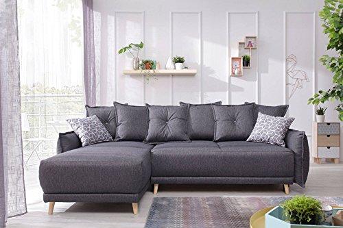 Bestmobilier - Lena - Canapé d Angle scandinave réversible Convertible - 235x155x90cm Couleur - Gris foncé