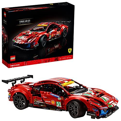 """LEGO 42125 Technic Ferrari 488 GTE """"AF Corse #51"""" Super Sportwagen Exclusief Verzamel en Displaymodel voor Volwassenen"""