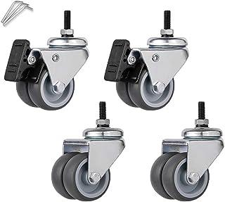 4 stuks stille rubberen wielen, 2 inch dikke M6M8 universele zwenkwielen, met remzitting/draaistoel dubbele katrol