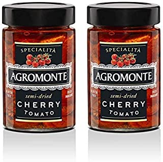 Agromonte Authentic Italian Semi-Dried Cherry Tomatoes - Taste of Italy Gourmet Foodie and Chef Gift with Fresh Herbs, Certified Kosher, Gluten-Free, No Added Sugar, Dry Packed 7.05oz (2 pack)