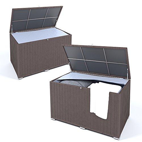OSKAR XXL Kissenbox wasserabweisend Polyrattan 950L Braun Auflagenbox Gartenbox Gartentruhe Aufbewahrungsbox