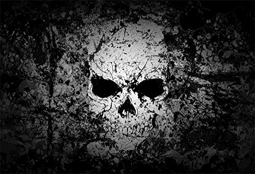 6x4ft Grunge Scary Skull Photography Backdrop Abstract Vintage Gothic Style Skeleton Head Horror Background Movie Poster Wallpaper Evil Halloween Backdrops for Parties Photo Studio