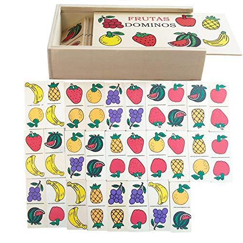 Dominó Infantil Educativo de Frutas, Hecho en Madera 28 fichas,Estuche 17 x 9.5 x 4 cm