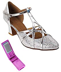 Very Fine Ladies Practice, Cuban Low Heel, Wedding Dance Shoes - Salsera Series - SERA3541-2.2-inch Heel