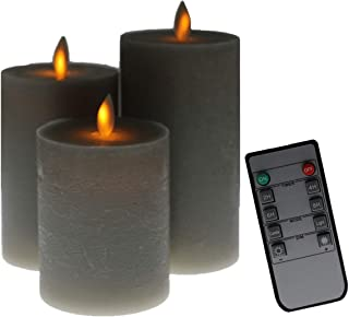 Kitch Aroma Grey flameless Candles, Battery Operated LED Pillar Candles with Moving Flame Wick with Remote Timer,Pack of 3