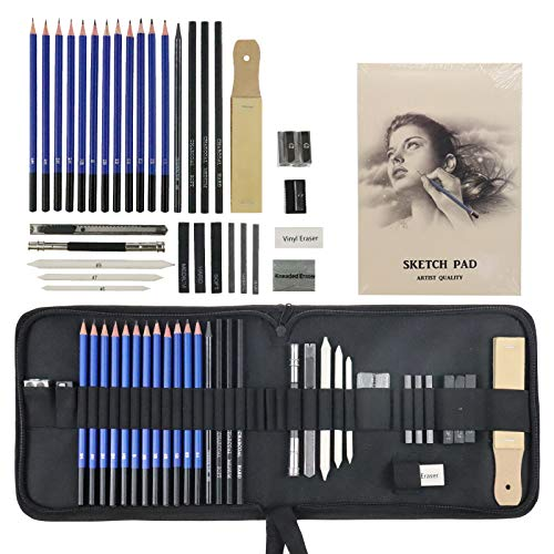 Jacriah 33-Piece Graphite Sketching Set.Professional Sketching Kit Includes Charcoal Pencils