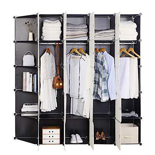 WOLTU XXXL Kleiderschrank Garderobenschrank Steckregalsystem Bücherregal Schuhregal DIY Regal Mit 2 Kleiderstange super groß