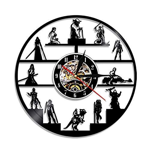 HQYMY Récord de Vinilo Reloj de Pared-Star Wars Series Wall Clock-Único Sala de Estar Dormitorio Dormitorio Colgando Adornos-Navidad Noche Decoración (Style : H)