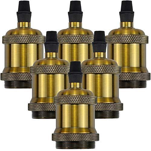 HISAYSY lampenfassung e27 Vintage,Edison Glühbirnen Fassung Wasserdichte Isolierte,Schraube Glühbirnenfassung ür DIY-Hängeleuchte Lampenhalter Hängelampen, Bronze, 6 er
