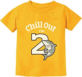 Gift for 2 Year Old Boy Girl Chill Out Shark 2nd Birthday Toddler Kids T-Shirt