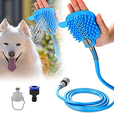 Pet Shower Sprayer Dog Bathing Tool - Shower Head & Brush In One With 8.2 Ft Hose and 2 Adapters, Dog Cat Horse Grooming & Massage, Dog Wash Bathtub And Outdoor Use