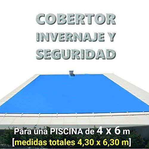 Cobertor, lona, cubierta, toldo,... de invierno para cubrir una piscina de 4 x 6 m. Medidas totales del cobertor: 4,30 x 6,30 m.