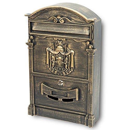 VERDA Briefkasten Postkasten Retro Antik Vintage Wandbriefkasten Mailboxen Aluguss Modellwahl (SN3663-3 Antik Gold)