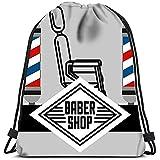 Mochilas con cordón Mochila Baber Shop Silla Colores Postes Figura Isométrica Bolsas de Viaje de Gim...